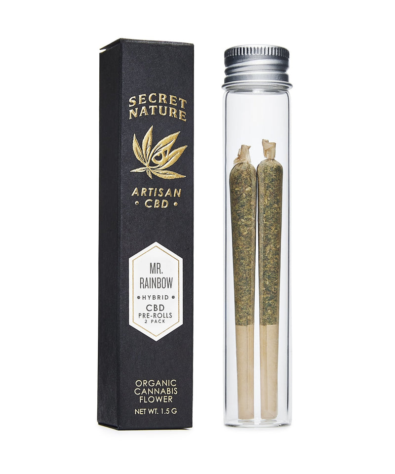 Mr. Rainbow - CBD Hemp Flower Pre-Rolled Joints, Hybrid-Balance, 100% Trimmed Flower Buds, Ultra Premium, 2 Pack - Secret Nature