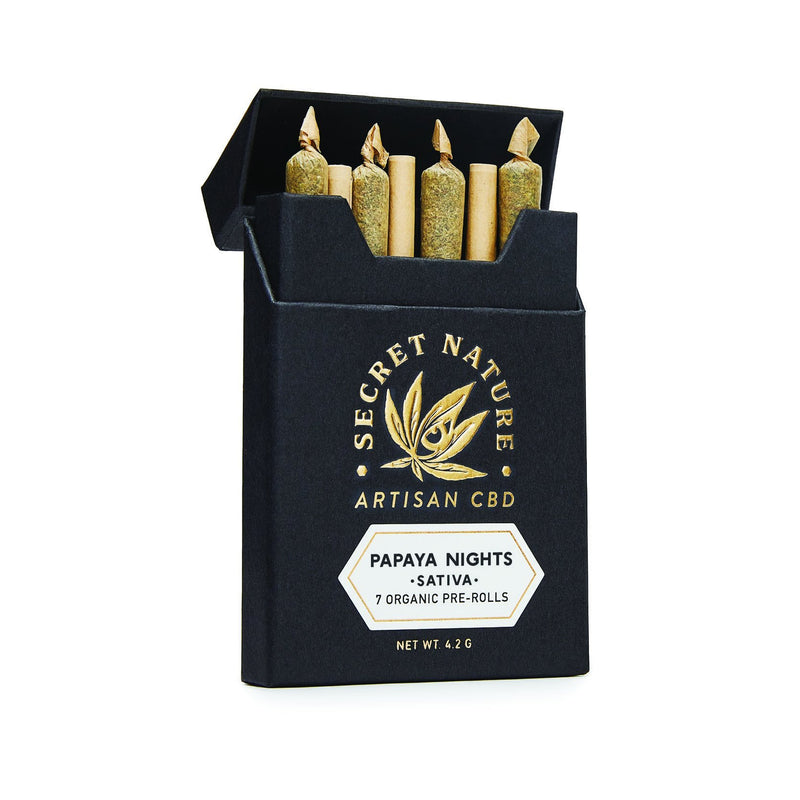 Papaya Nights - CBD Hemp Flower Pre-Rolled Joints, Sativa, Uplift, 100% Trimmed Flower Buds, Ultra Premium, 7 Pack - Secret Nature