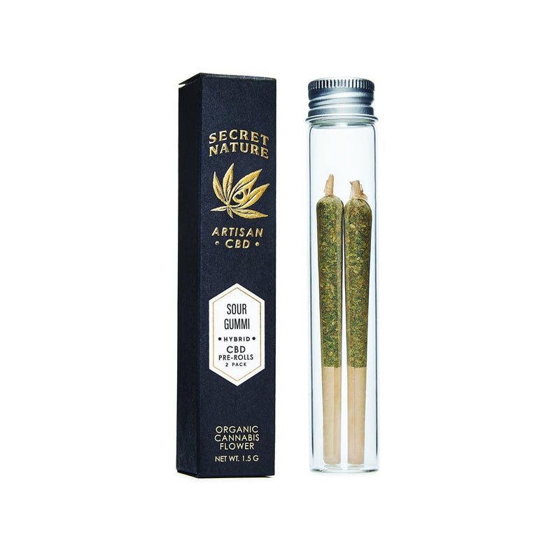 Sour Gummi - CBD Hemp Flower Pre-Rolled Joints, Hybrid-Balance, 100% Trimmed Flower Buds, Ultra Premium, 2 Pack - Secret Nature