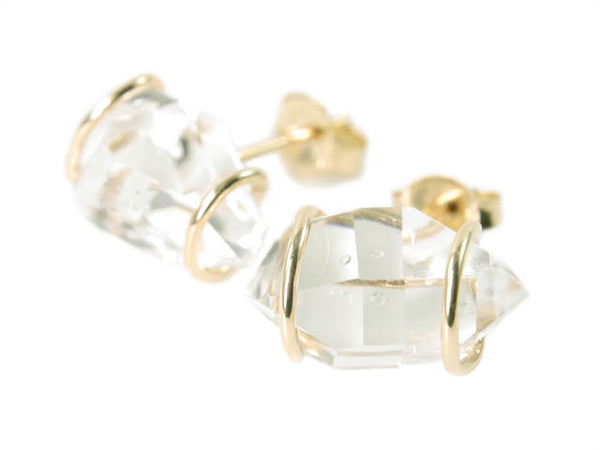 Beryllina Herkimer Diamond recycled gold post earrings handmade in Concord, MA