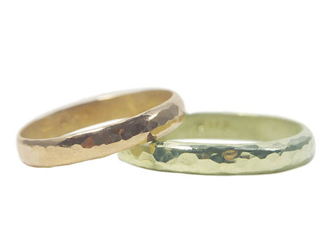 """""""Devotion"""" recycled yellow gold and recycled green gold eco-friendly wedding rings"""