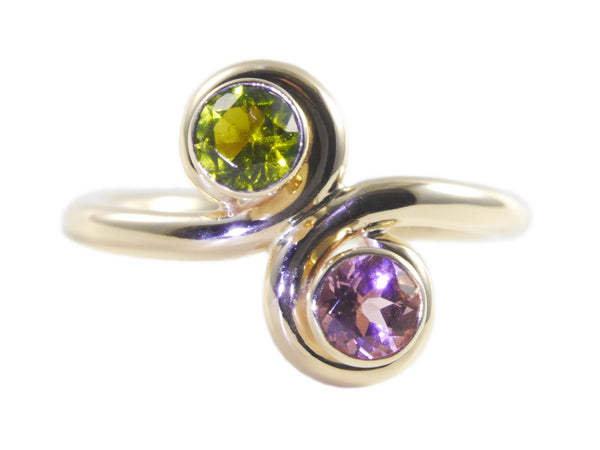 """Duo"" Maine tourmaline and 14K recycled yellow gold ring by Beryllina"