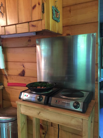 cookin' up breakfast at the cabin