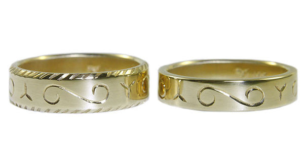 Beryllina custom ethical wedding bands in recycled 14K gold with engraving