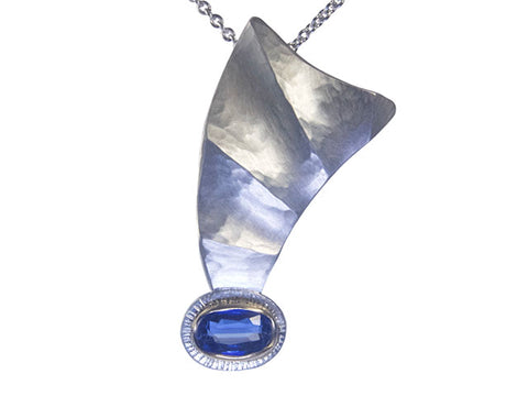 Kyanite Comet recycled silver and gold necklace
