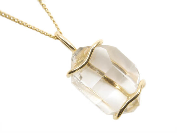 Beryllina Herkimer Diamond recycled 14K yellow gold necklace handmade in Concord, MA