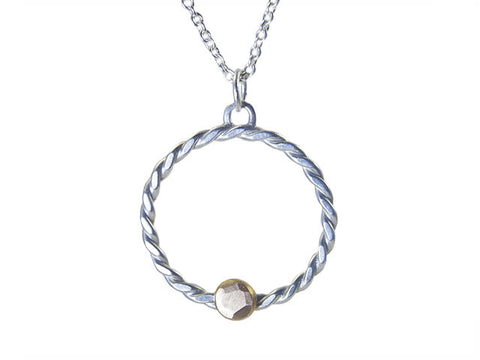 Silver Twist Necklace with Gold Pebble