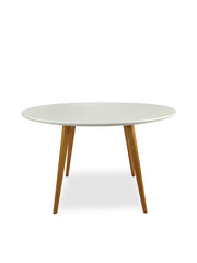 120cm Round Dining Table - White - Walnut Legs