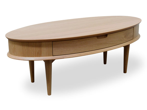 Scandinavian Coffee Table with Drawer - Natural