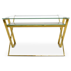 Glass Office Desk - Golden Polished Base