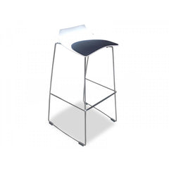 Bar Stool with Black Seat - White