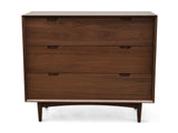 Asta 3 Drawer Chest Scandinavian Design - Walnut Finish