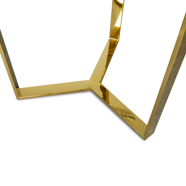 50cm Side Table With Golden Stainless Steel Base