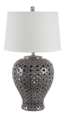 Lattice Tall Grey Table Lamp
