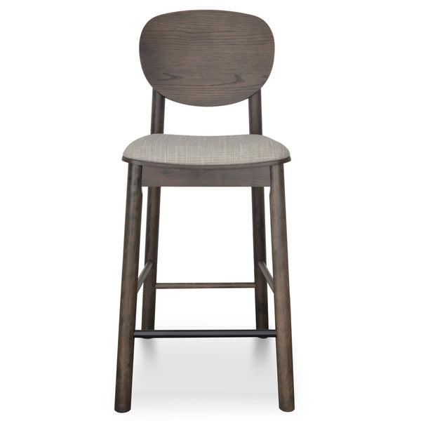 Veneer Panel Back Bar Stool - Walnut