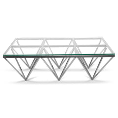 1.2m Coffee Table - Glass Top - Silver Steel Base