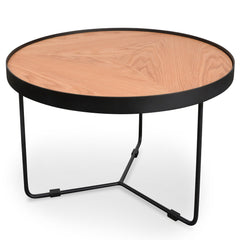 60x41cm Round Coffee Table - Natural Top - Black Frame