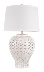 Lattice Tall Antique White Table Lamp