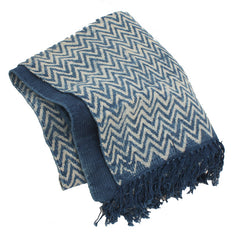 Faded Indigo Zig Zag Throw