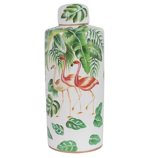 Pink Flamingo Ginger Jar
