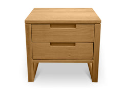 2 Drawer Wooden Bedside Table - Natural Oak