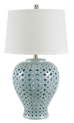 Lattice Tall Turquoise Table Lamp