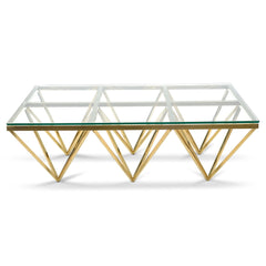 1.2m Coffee Table - Glass Top - Golden Steel Base