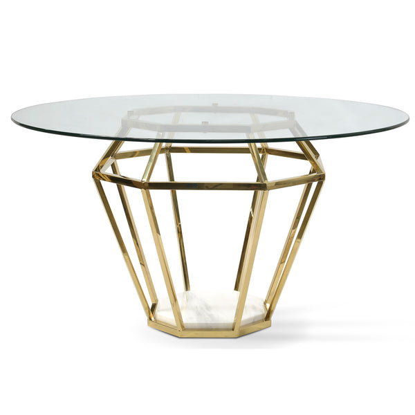 1.4m Diameter Round Dining Table - Marble Stone Base