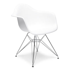 Dining Armchair - Eames Replica - Chrome Legs - White