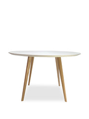 120cm Round Dining Table - White - Natural Legs