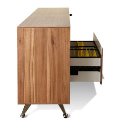 2 Drawer Filing Cabinet with Cupboard - Walnut