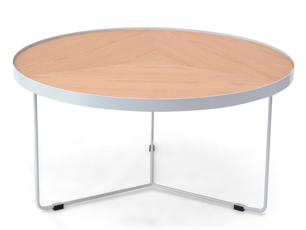 90x45cm Round Coffee Table - Natural Top - White Frame