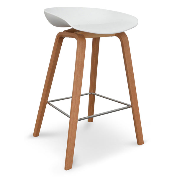 Bar Stool - White - Natural - Chrom Foot Rest