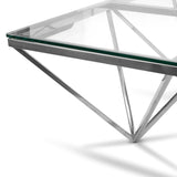 1.05m Coffee Table - Glass Top - Silver Base