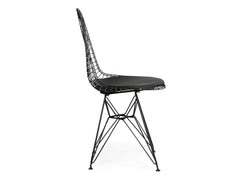 Wire Dining Chair Replica - Black frame Black Seat