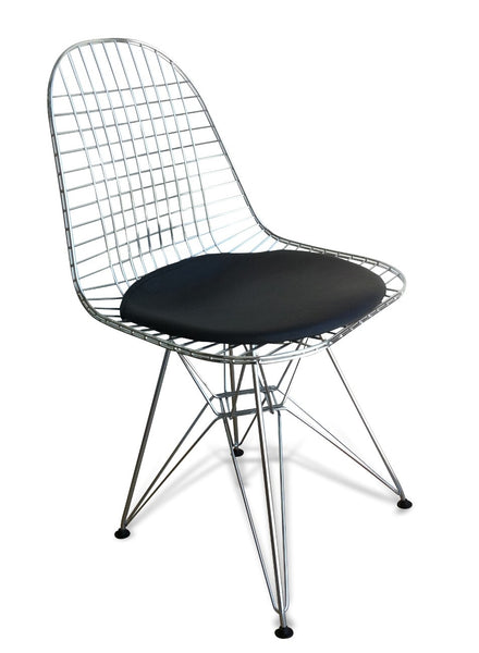 Wire Side Dining Chair - Eames Replica - Chrome Frame Black...