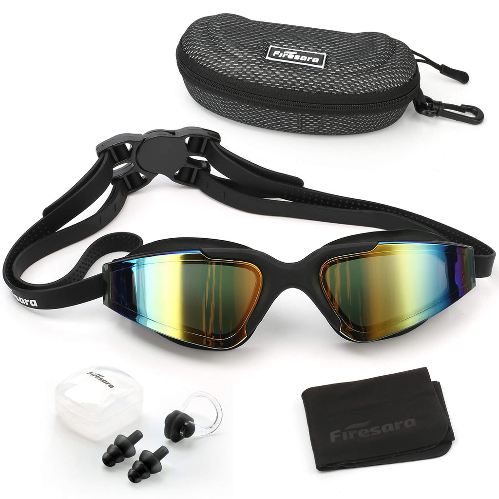 firesara black swim goggles and accessories that come with it