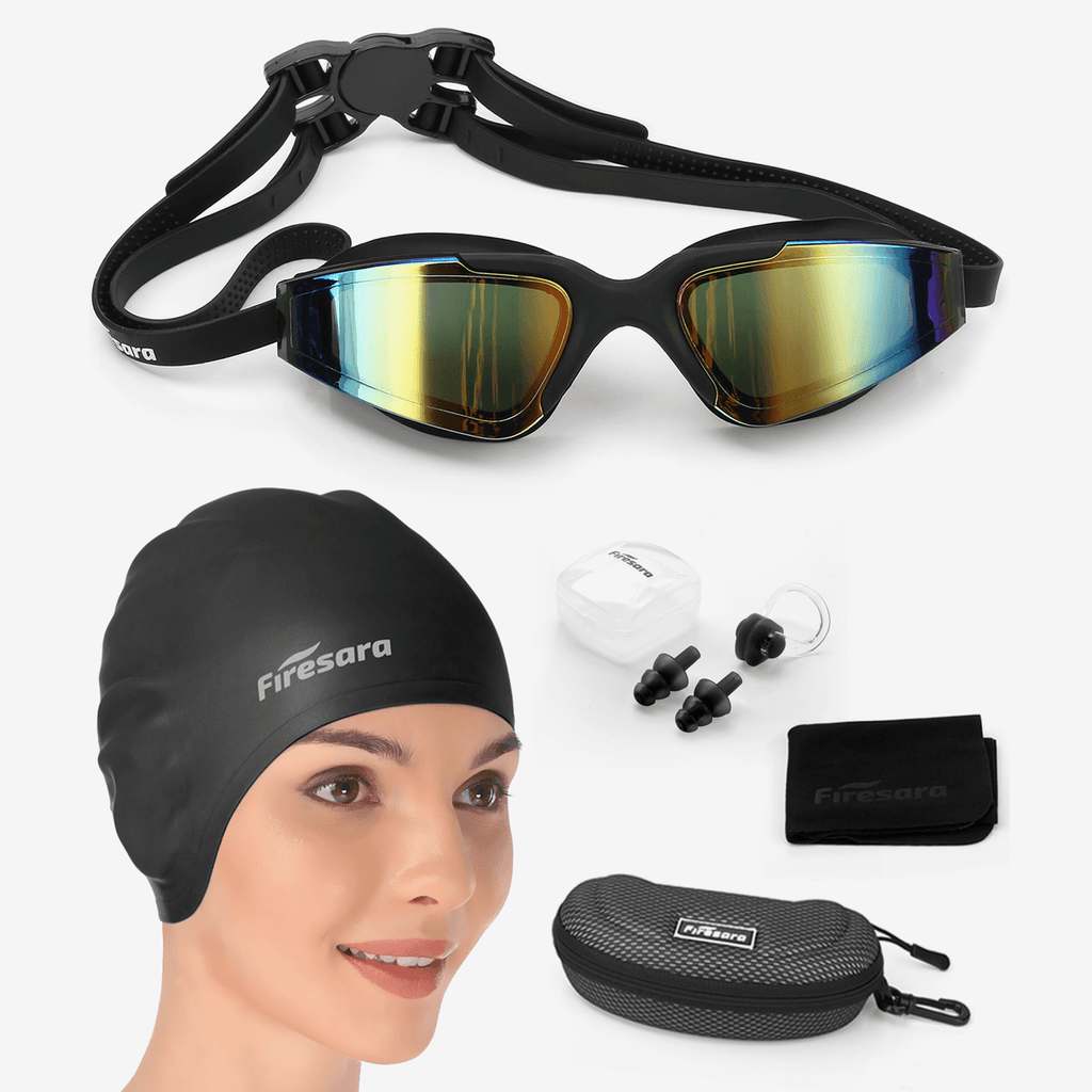 what's included in firesara swim cap and goggles with ear plugs