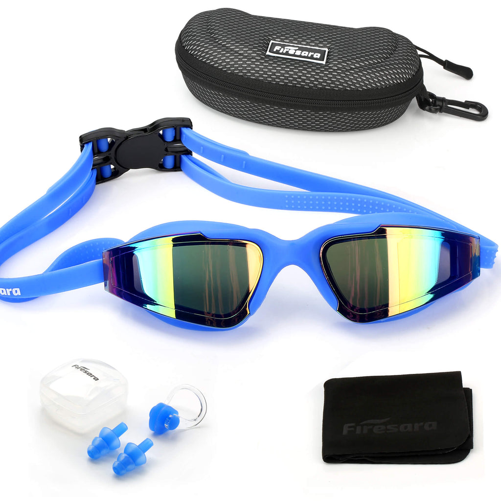 firesara blue swim goggles and accessories that come with it