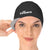 female model wearing reversible swim cap black outer grey inner