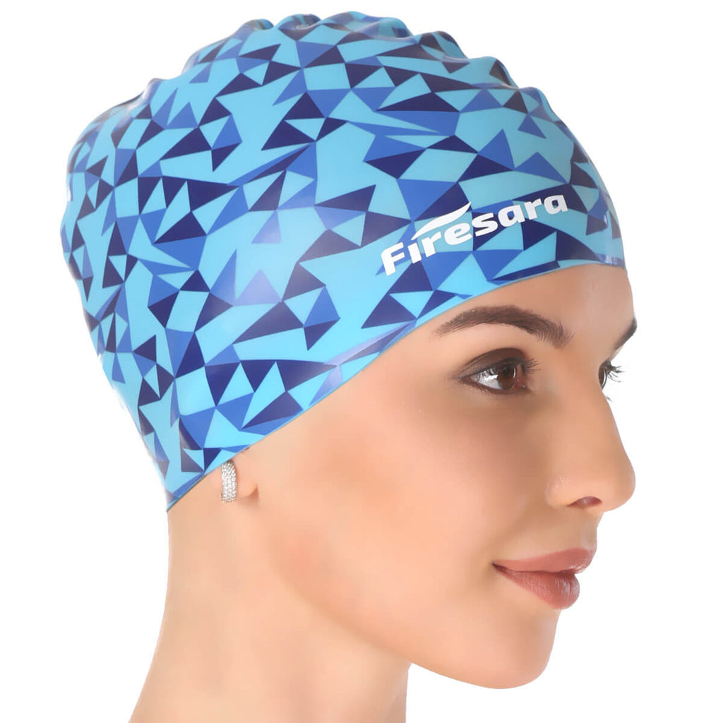severe side view of model wearing bathing cap swim