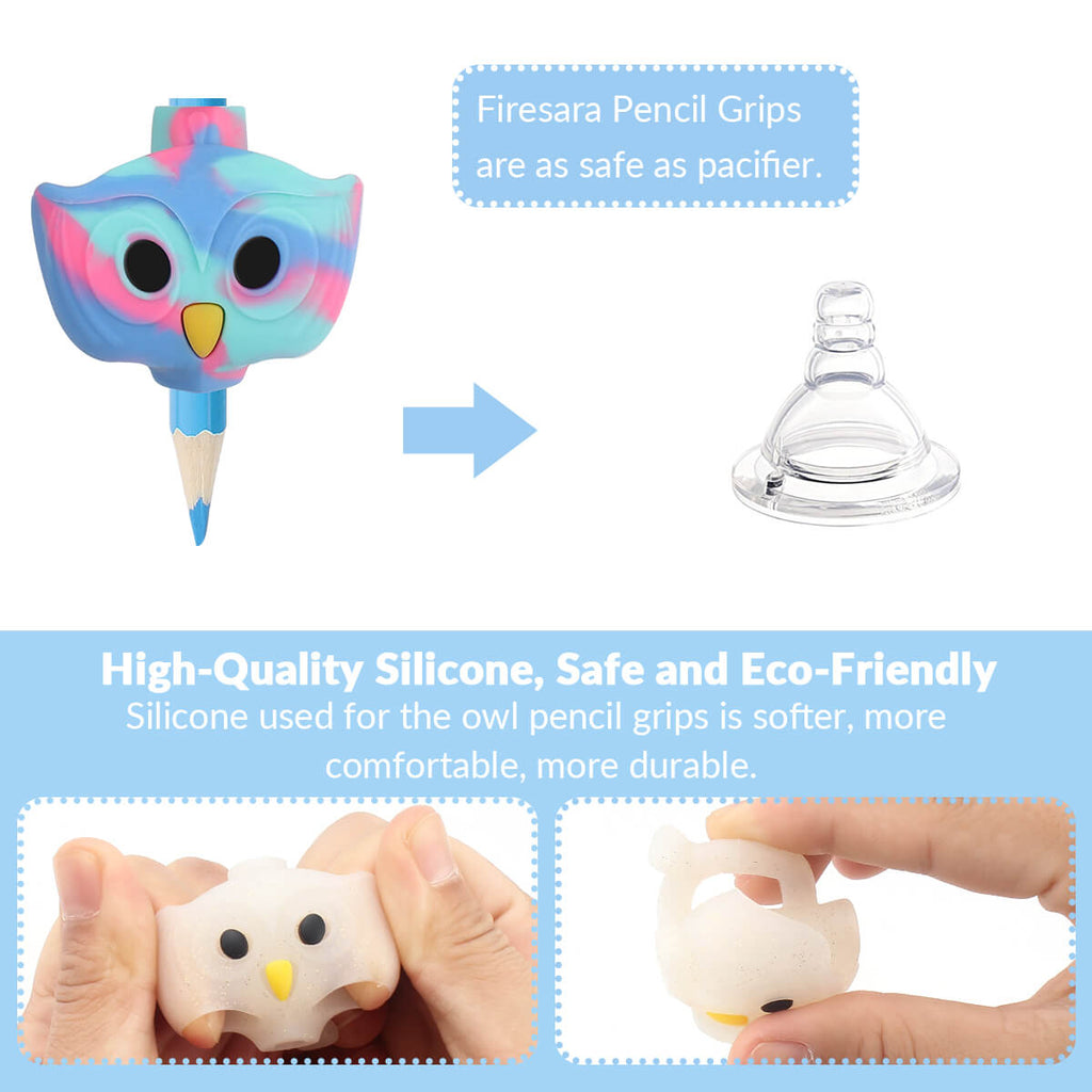 safety and flexibility of pencil grips kids writing owl