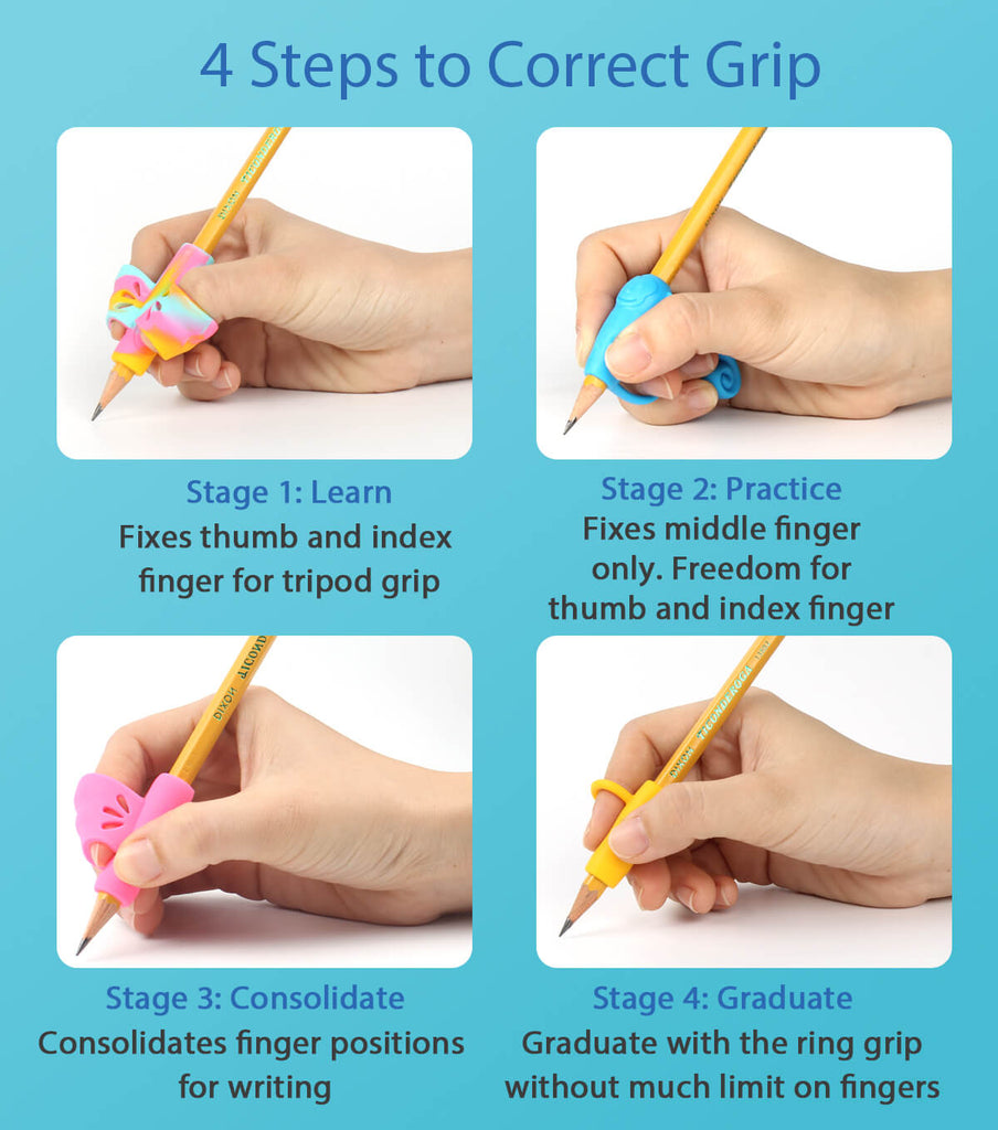 4 steps for correct grip with firesara pencil holding grips