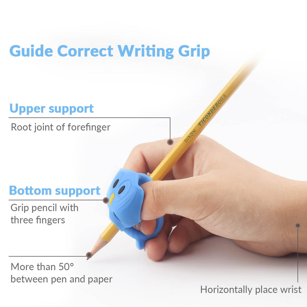 hand holding a pencil with best pencil grips for kids