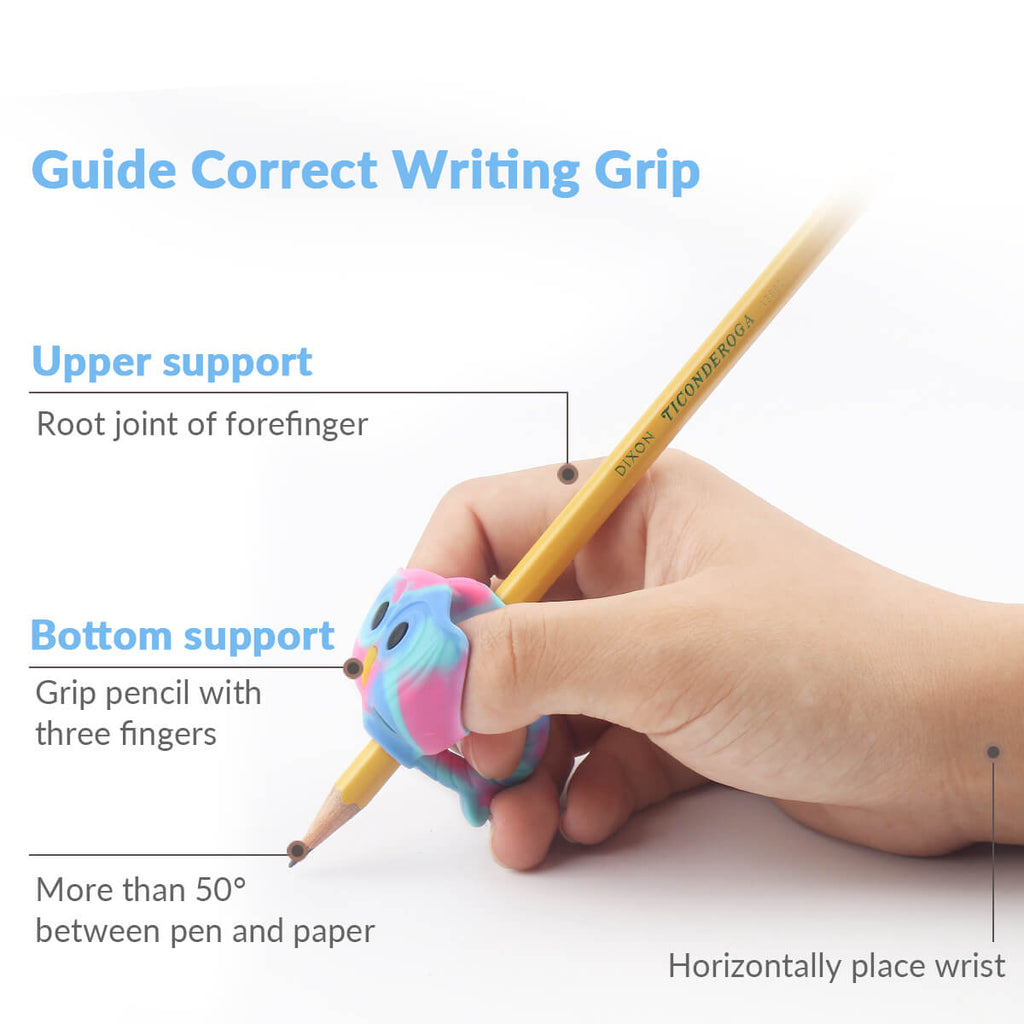 hand holding pencil with pencil grips kids writing aid