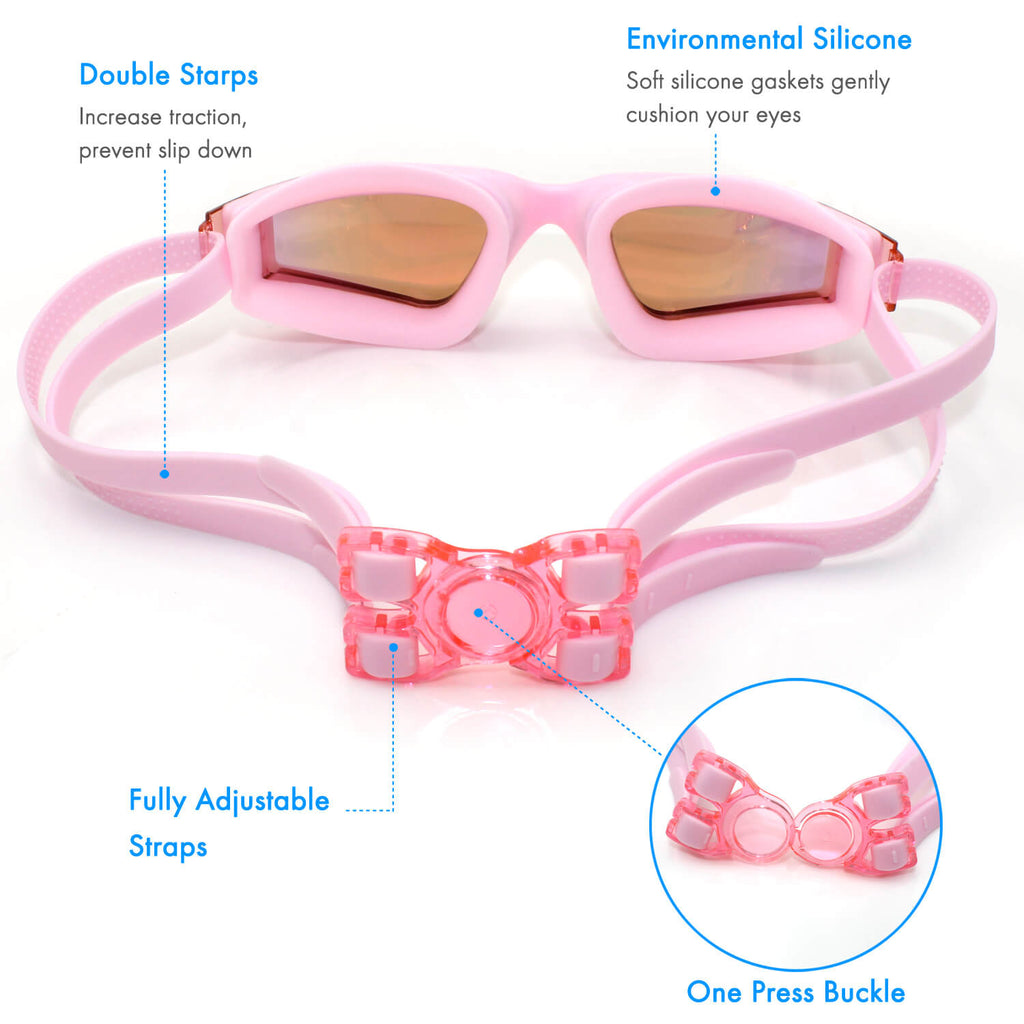 adjustable straps of firesara swimming pool goggles pink