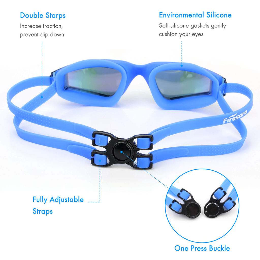 adjustable straps of firesara swimming pool goggles blue