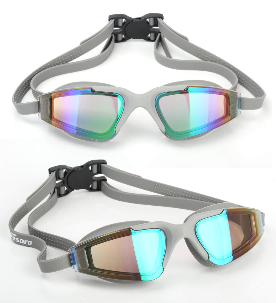grey goggles looking from the front and side view