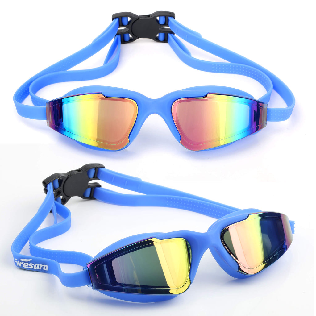 blue goggles looking from the front and side view