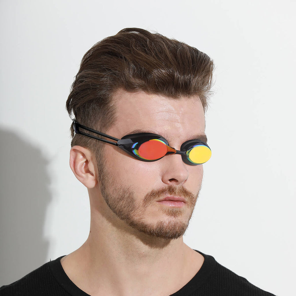 man wearing firesara swimming goggles whale B